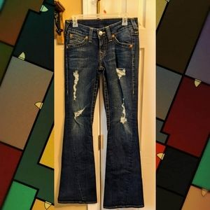 DISTRESSED JOEY FLARE TRUE RELIGION JEANS SIZE 29